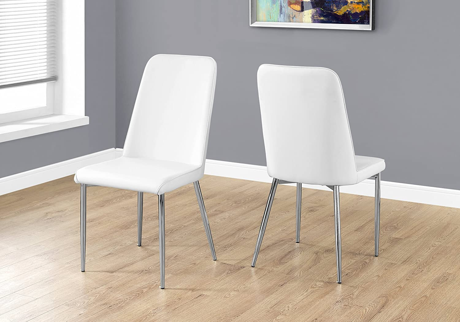 Monarch Specialties I 2 Piece Dining CHAIR-2PCS Leather-Look Chrome, 18 L x 16.5 D x 37 H, White