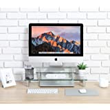 FITUEYES Glass 2-Tier Computer Monitor Riser Desktop Organizer Stand for Laptop/LCD LED TV/Xbox One DT206002GC