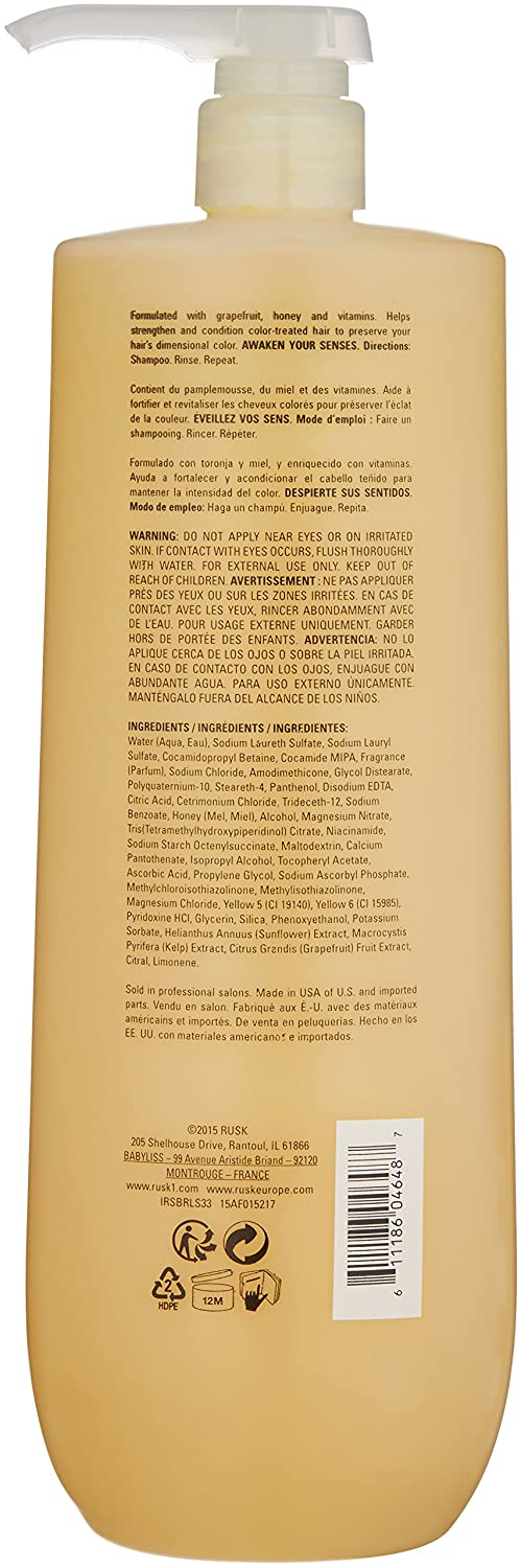 Amazon.com: RUSK Sensories Brilliance Grapefruit and Honey Color Protecting Shampoo, 33.8 Fl. oz.: Luxury Beauty