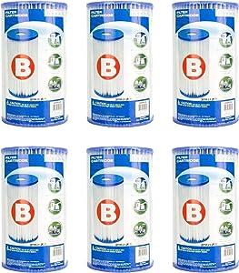Intex Pool Easy Set Type B Replacement Filter Pump Cartridge (6 Pack) | 29005E