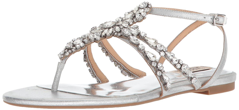 Silver Badgley Mischka Womens Hampden Flat Sandal