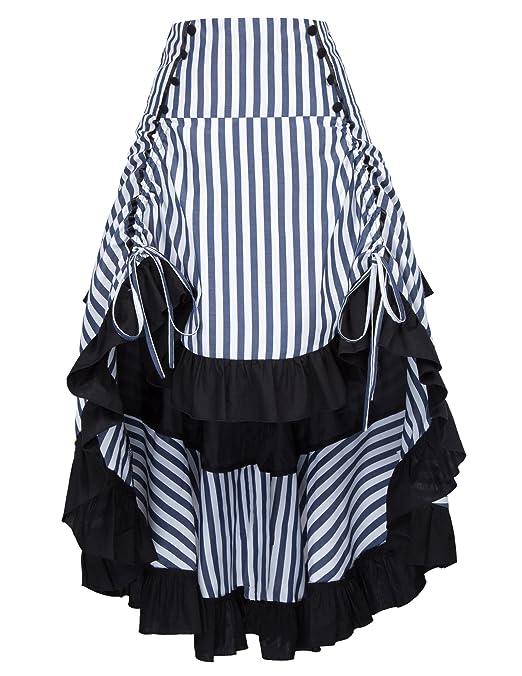 Steampunk Costume Essentials for Women Belle Poque Striped Steampunk Gothic Victorian High-Low Skirt Vintage Style BP000345 $36.39 AT vintagedancer.com