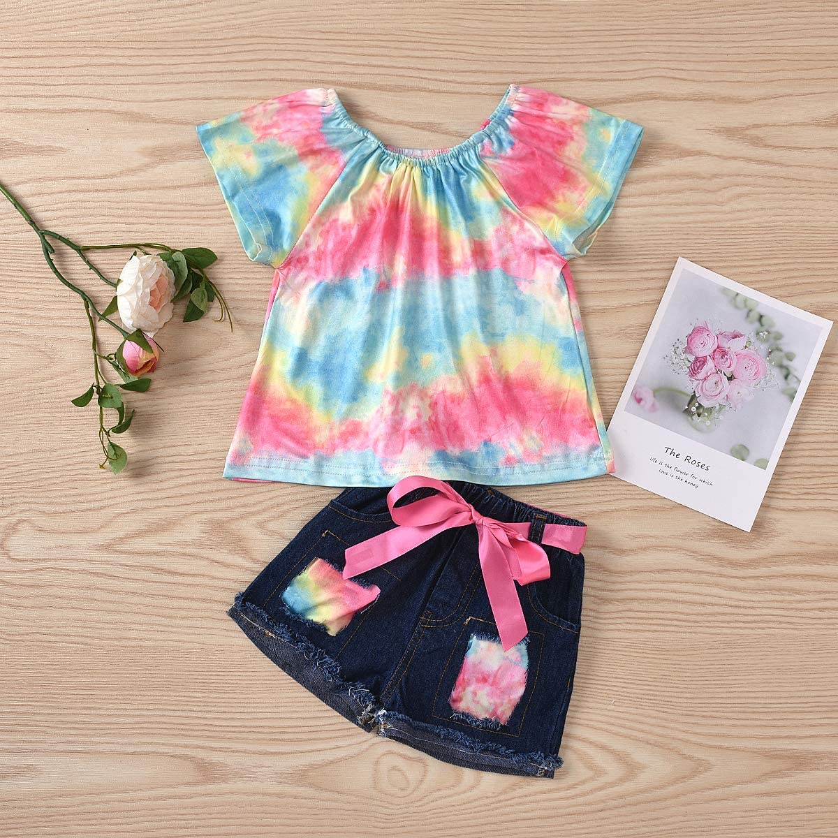 Toddler Kids Girl Summer Clothes Short Sleeve Floral T-Shirt Tops Ripped Jeans Shorts 2Pcs Outfits Set