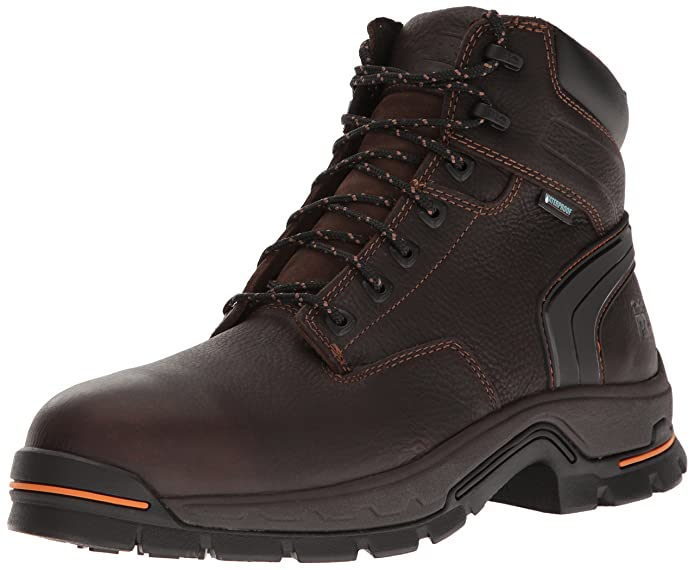 "Timberland PRO Men's Stockdale 6"" Alloy Toe Waterproof Industrial & Construction Shoe, Brown Full Grain Leather, 13 M US"