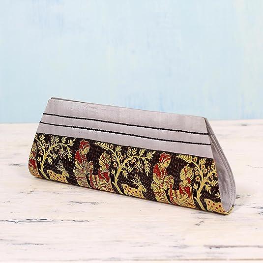 Novica Silk clutch handbag, Royal Love in Black and Grey