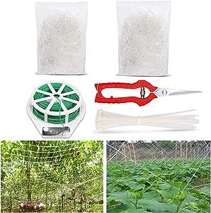Haiabei 2 Pack Garden Trellis Netting Plant, 30ft x 5ft Garden Fence Mesh Net,Plant Support Vine Net for Climbing Plants, Cucumber, Pea, Bean, Vegetable