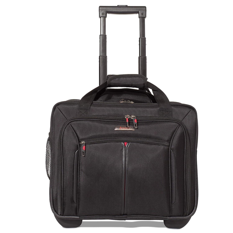 Aerolite Sac à roulettes pour ordinateur portable Trolley pour PC portable - Baggage à main pour Ryanair, Air France (Noir)