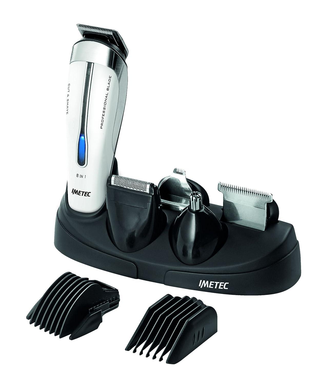IMETEC Hi-Man Expert GK3 900 - Recortabarbas 8 en 1, 7 posiciones de corte del cabello, color negro y blanco 1620A