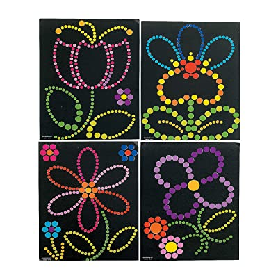 Fun Express - Sticker Dot Art - Spring Flowers for Spring - Stationery - Stickers - Make - A - Scene (Lrg) - Spring - 12 Pieces: Toys & Games