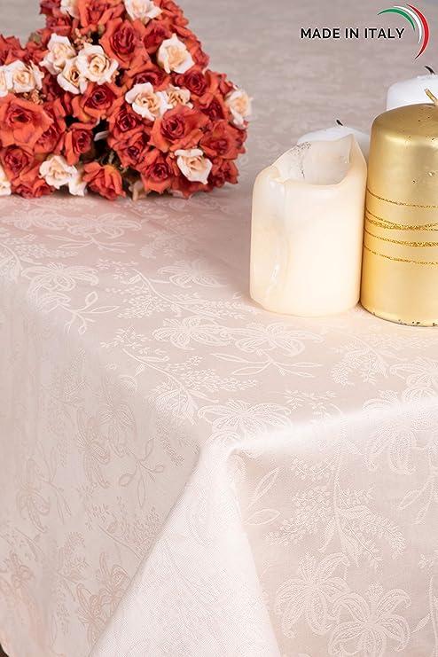 ESSE HOME – Línea Confestyl – Mantel con 24 servilletas (servicio de mesa) – Rectangular – Fiandra Jacquard puro algodón – Fabricado en Italia – Producto artesanal – IRIS 598 (170x400, Servicio Pesco): Amazon.es: Hogar