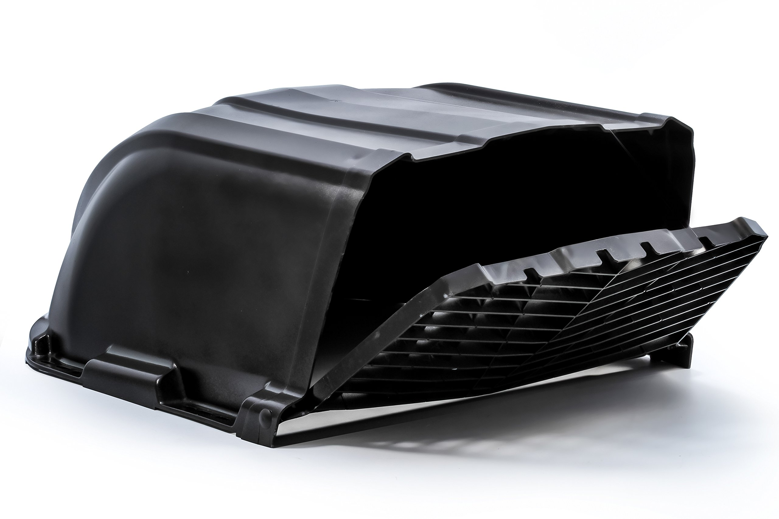 Camco RV XLT High Flow Roof Vent Cover, Opens Easy Cleaning, Aerodynamic Design, Easly Mounts to RV Included Hardware (Black)