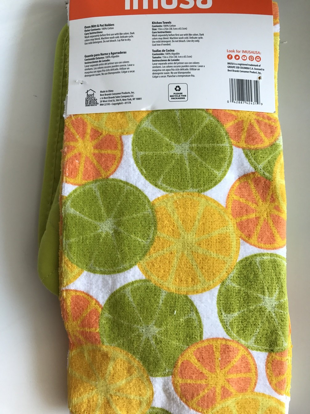 Amazon.com: IMUSA 5 Piece Kitchen Towels Set Oven Mitt and Pot Holders Yellow Citrus: Home & Kitchen