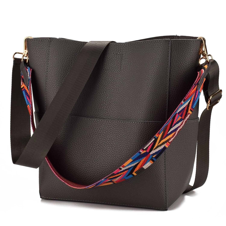 736624afd648 JIARUO Designer Bucket bag Women Leather Wide Strap Shoulder bag Handbag