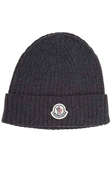 Moncler men's beanie hat grey