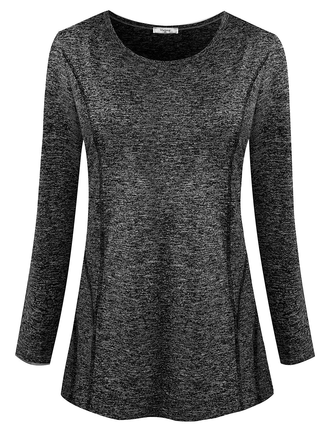 Viracy Workout Tops for Women, Ladies Athleisure Wear Long Sleeve O Neck Fitness Pilates Tunic Exercise Yoga Running Active Shirts Elastic Moving Freely Fishing Hiking Blouse Black M