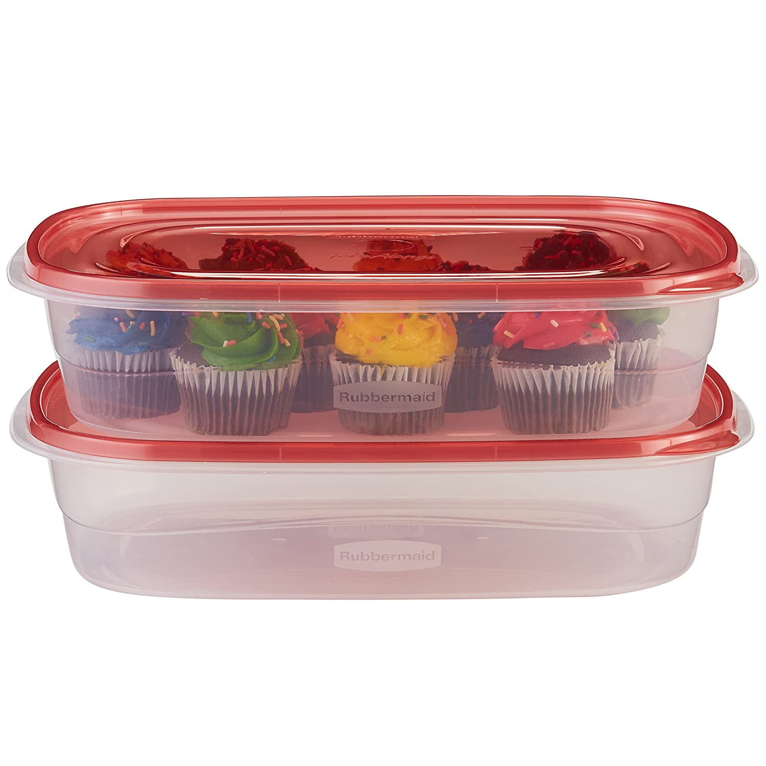 Rubbermaid TakeAlongs Food Storage Container, Large Rectangles, 1 Gal, 2 Pack, Red Rubbermaid Consumer 1953766