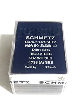 Schmetz Agujas de punto de bola de máquina de coser Industrial (tamaño 12) –