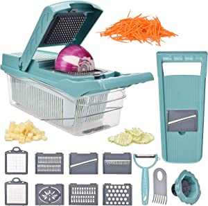 Vegetable Chopper, Onion Chopper Adjustable 8-in-1 Food Chopper and Dicer, Multi-Functional Mandoline Slicer Cutter Spiralizer Lemon Squeezer Egg Separator (Blue)