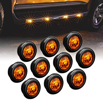 """10pc 3/4"""" Round Amber Trailer LED Marker Light [DOT FMVSS 108] [SAE P2PC] [Semi-Spherical Output] [IP67 Waterproof] [Bullet Style] Round Clearance Marker Lights for Trailer Truck: Automotive"""