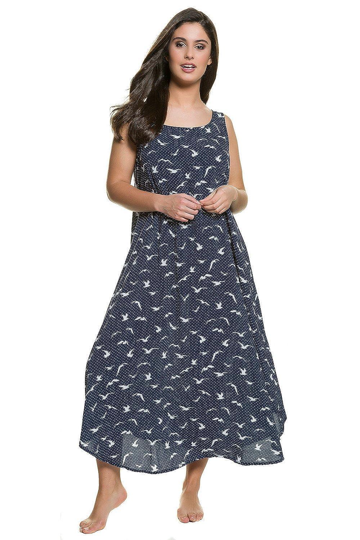 Ulla Popken Damen große Größen | Kleid mit Punkten und Möwen. Ärmellos | ausgestellte Form | gerundeter Saum | bis Größe 58+ | 710662
