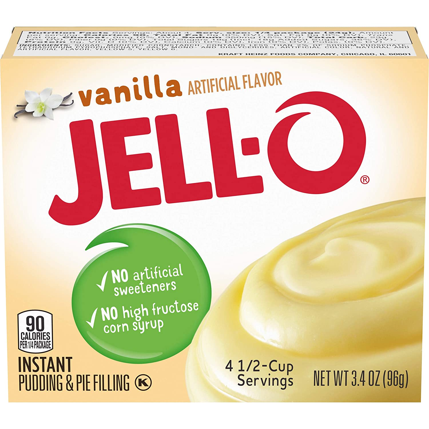 Amazon Com Jell O Instant Vanilla Pudding Pie Filling 3 4 Oz Boxes Pack Of 24 Cooking And Baking Pudding Mixes Grocery Gourmet Food
