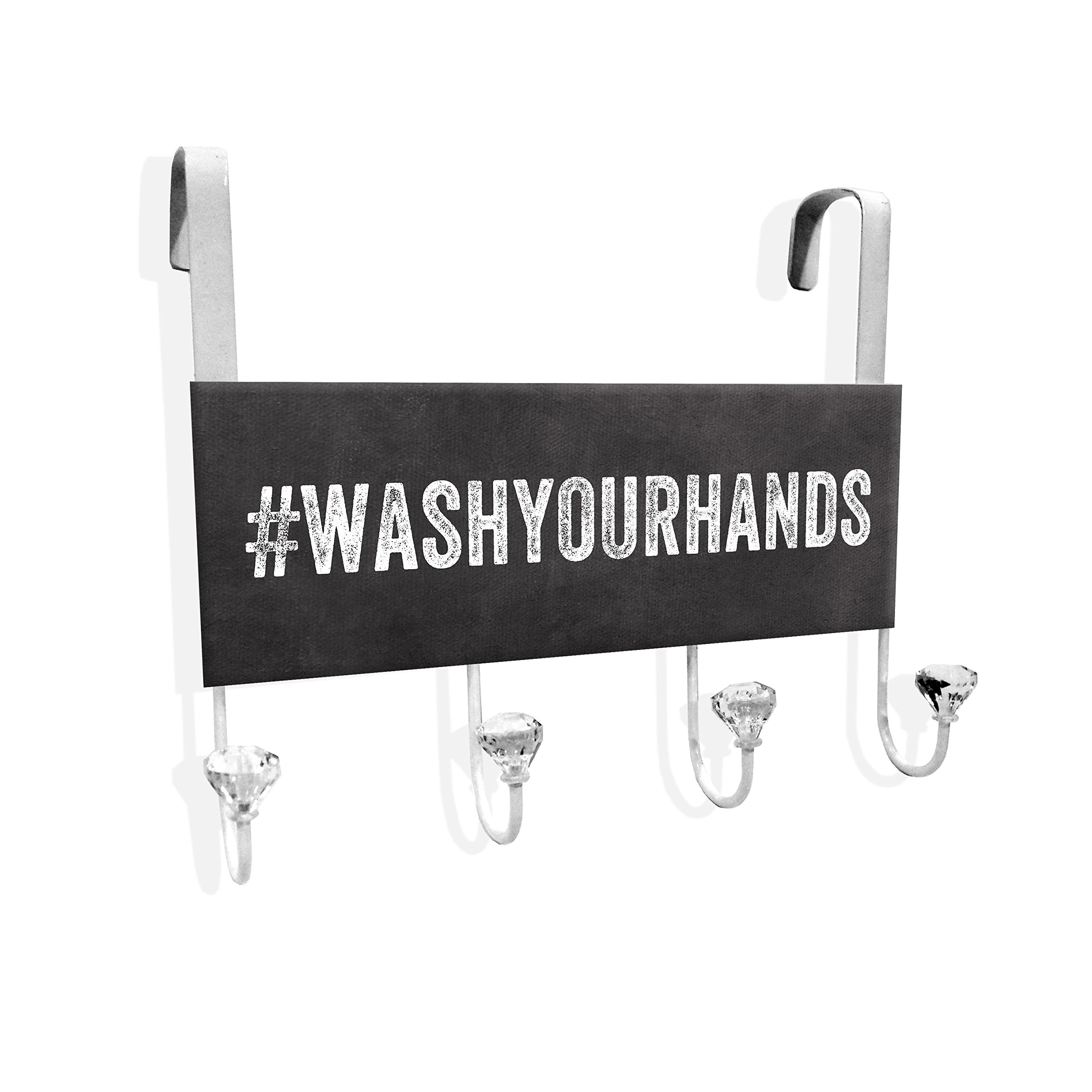 Stupell Home Décor Wash Your Hands Over The Door Hanger, 12 x 10.5 x 2, Proudly Made in USA
