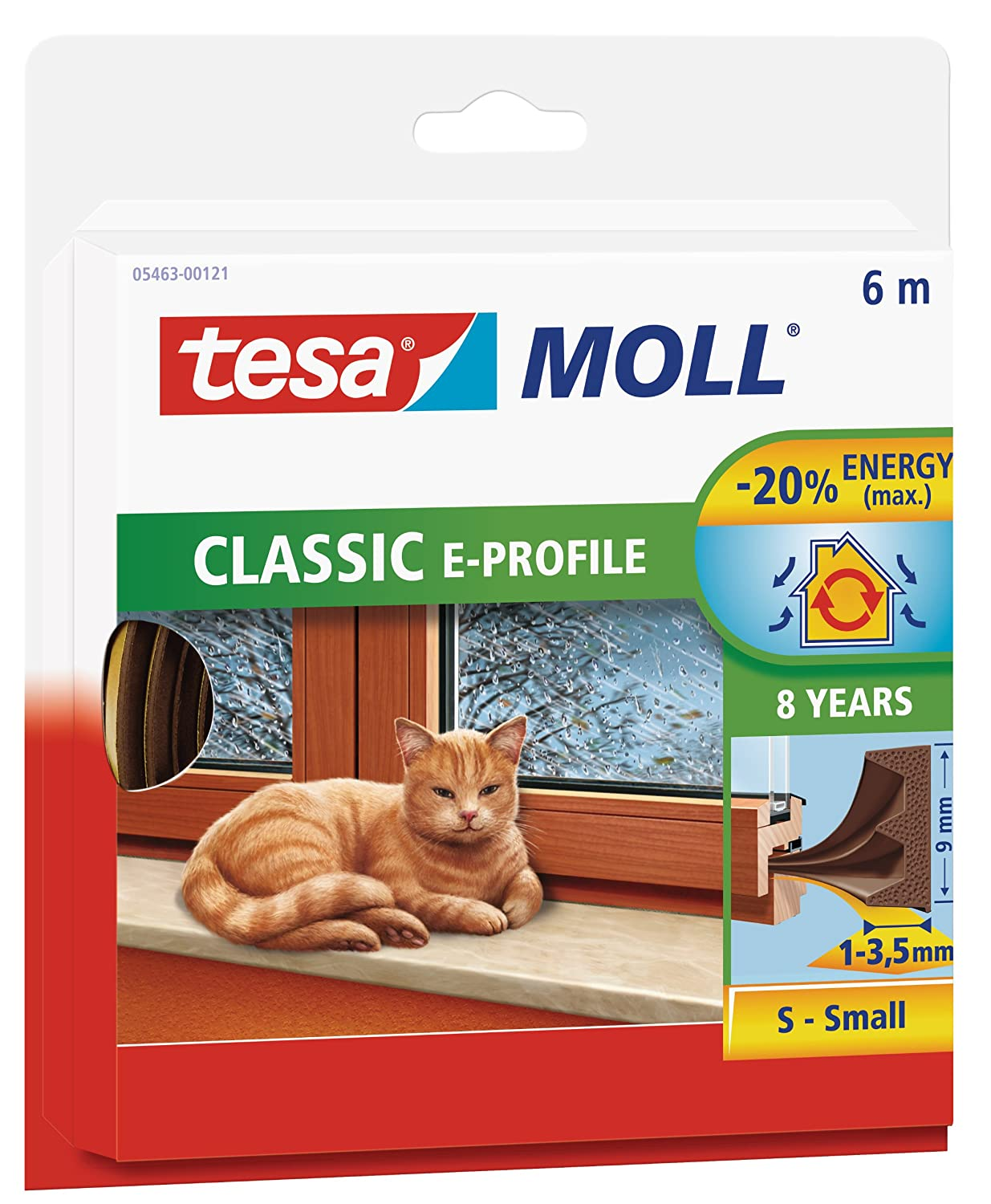 tesa UK E-Profile Draught Excluder for Doors and Windows 6 m x 9 mm - White 05463-00120-00