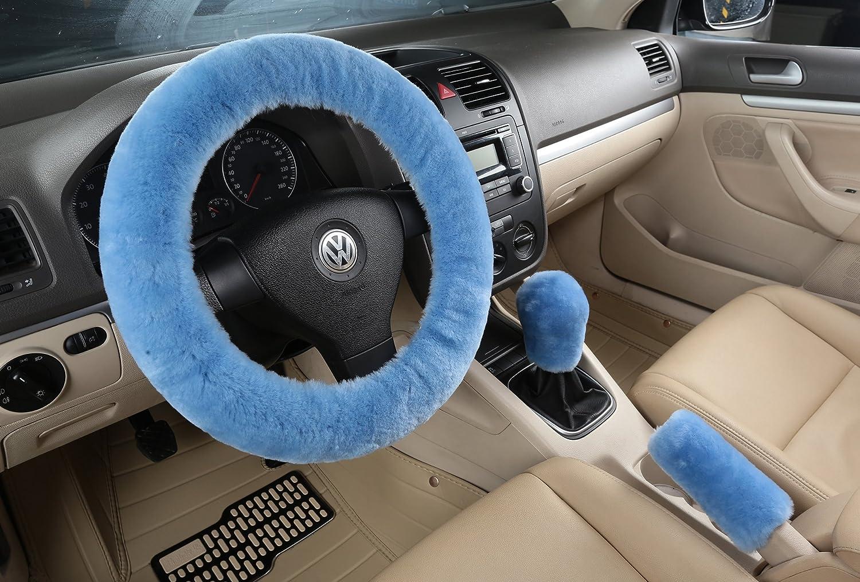 XinGe Winter One Set Pure Australian Sheepskin Wool Comfortable Stretch Steering Wheel Cover 3Pcs (White)