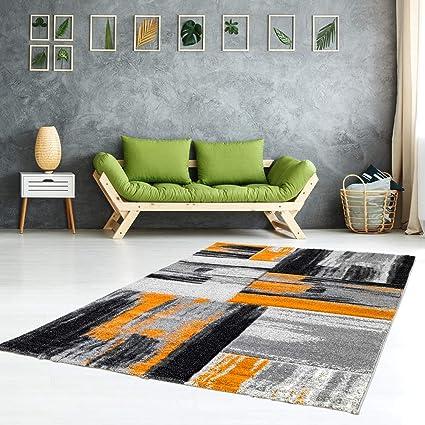 Tappeto moderno, per Soggiorno, mod. Swing, sfumature di colori (arancione  grigio nero), Orange Grau, 120 cm_x_170 cm