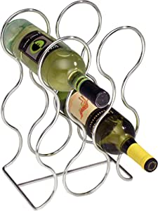 InterDesign Free Standing Wine Storage Rack for Kitchen Countertops - Holds 6 Bottles, Chrome