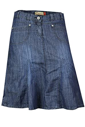 Knee Length A Line Soft Wash Light Denim Skirt Plus Size 14 16 18 ...