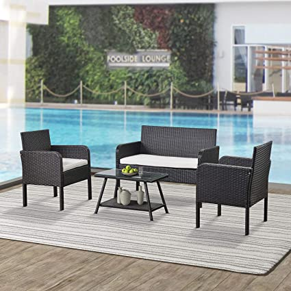 Amazon Com Teeker 4 Piece Rattan Sofa Seating Group With Cushions Outdoor Ratten Sofa Beige Kitchen Dining