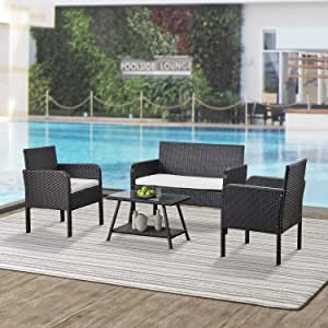 Teeker 4 Piece Rattan Sofa Seating Group with Cushions, Outdoor Ratten Sofa (Beige)