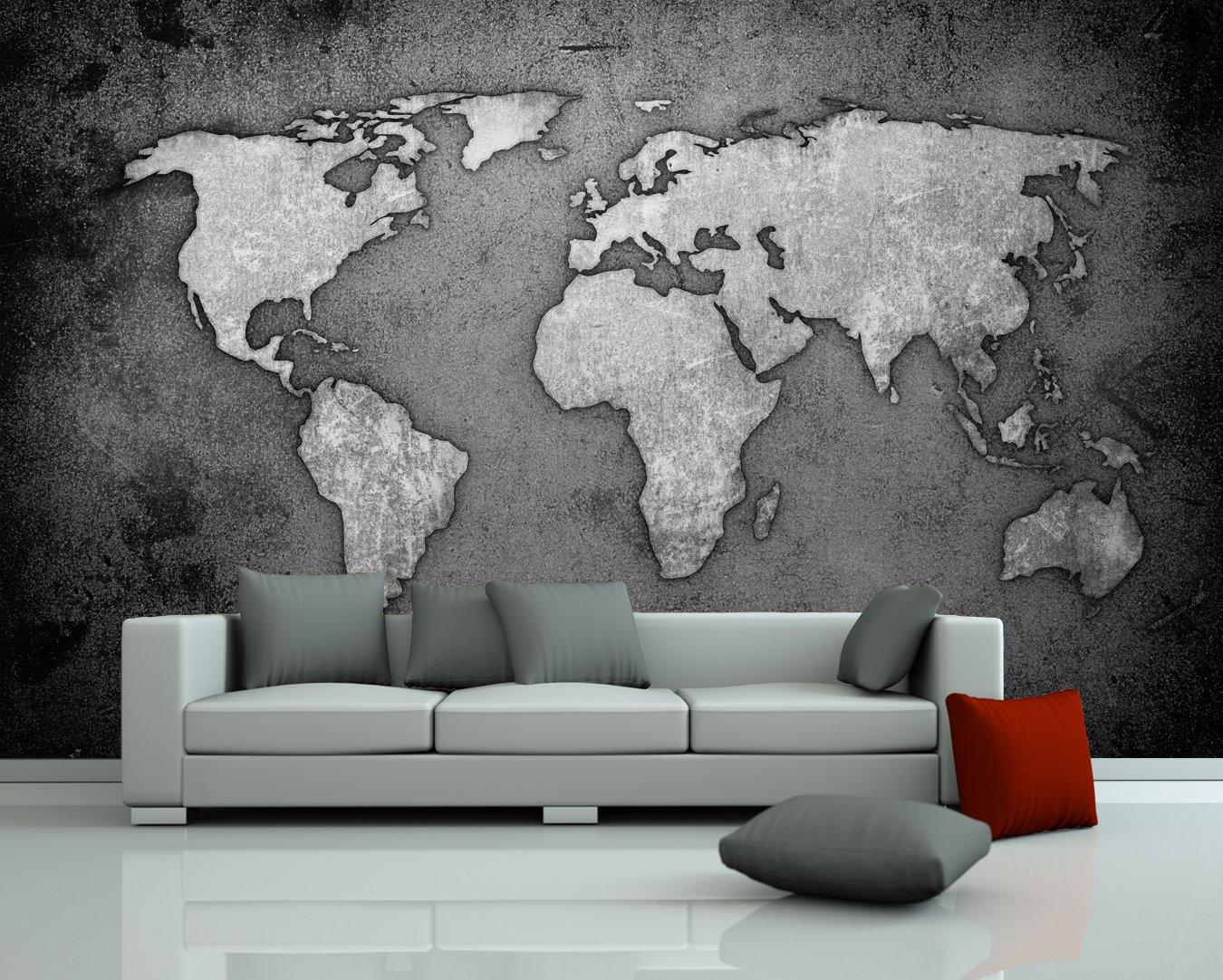 Bilderdepot24 selbstklebende Fototapete Weltkarte - schwarz weiss 230x150 cm - direkt vom Hersteller