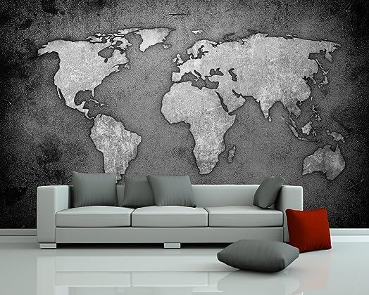 Bilderdepot24 Self Adhesive Photo Wallpaper   Wall Mural U0026quot;World Map    Black And Part 97