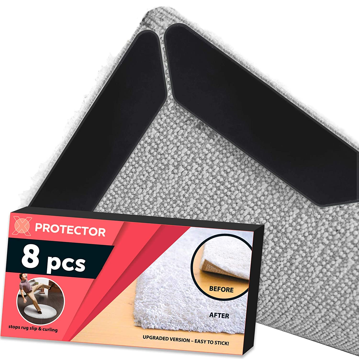 X-Protector Rug Gripper 8 Pack – Best Rug Grippers - Rug Tape Pad - Anti Curling Carpet Pad. Keeps Your Rug in Place & Makes Corners Flat. Premium Carpet Gripper – Anti Slip Rug Pad for Rug Non Slip! Clever & Easy
