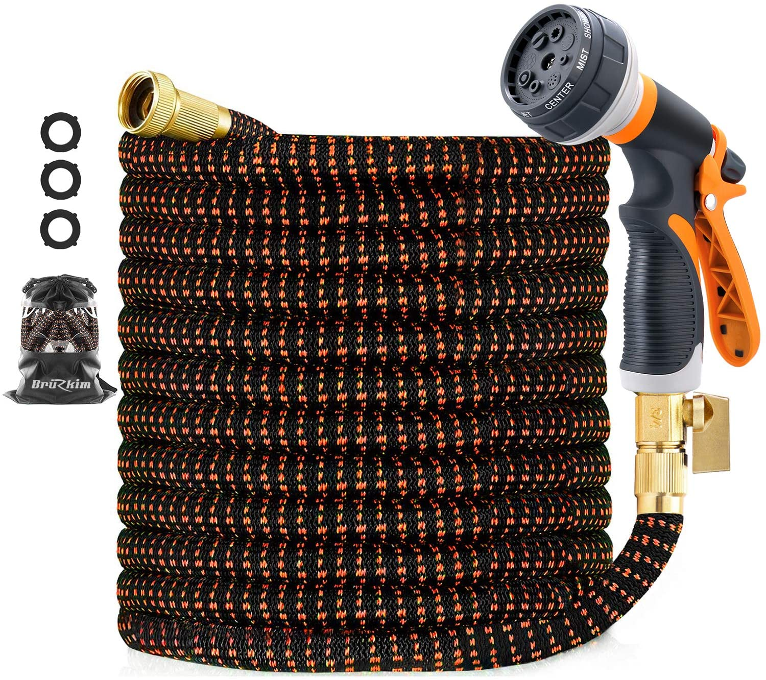 100ft Garden Hose, Expandable, Durable Lightweight, Flexible Expanding, Double Latex Core, 3/4 Solid Brass Fittings, Extra Strength Fabric, 8 Function Spray Nozzle Water Hose (100FT)