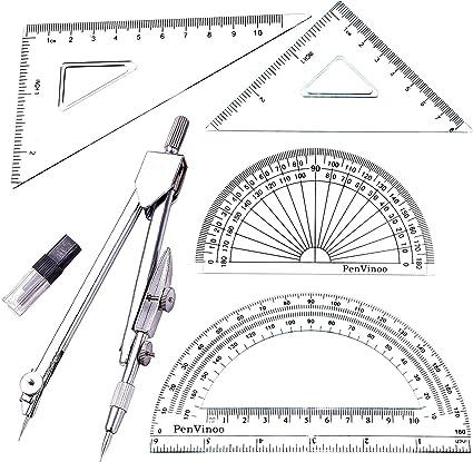Amazon Com Student Drawing Compass Math Geometry Tools 5 Pcs