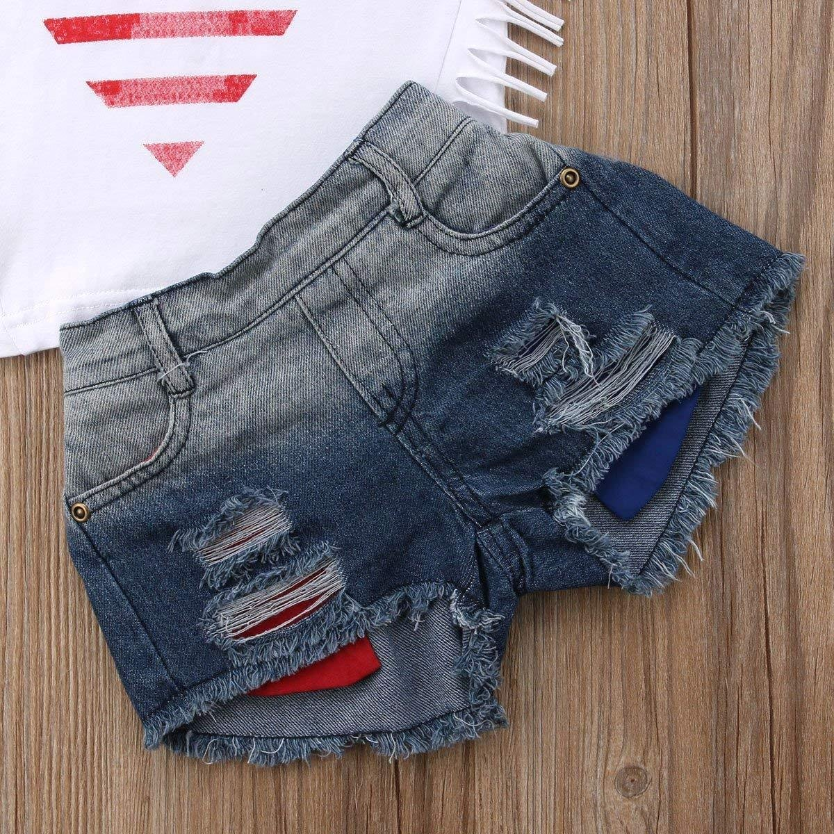Ripped Denim Shorts Clothes Set Newborn Infant Baby Girls Outfits USA Flag Stripe Star Print Sleeveless Pullover T-Shirt 2-3 Years