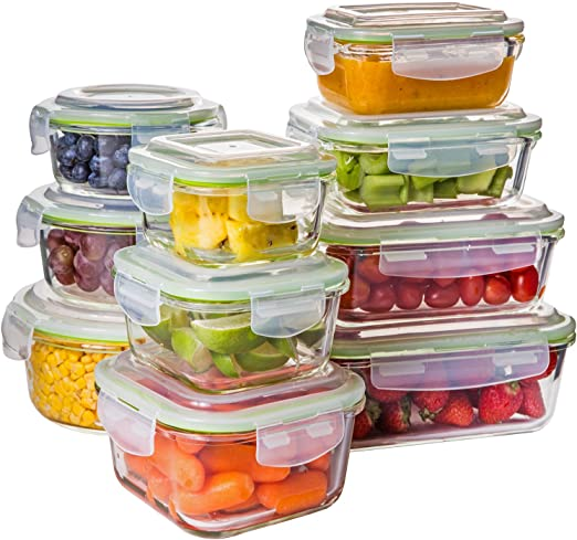 Pyrex 20 Piece Kitchen Glass Food Storage Set Lunch Box Container Microwave Safe