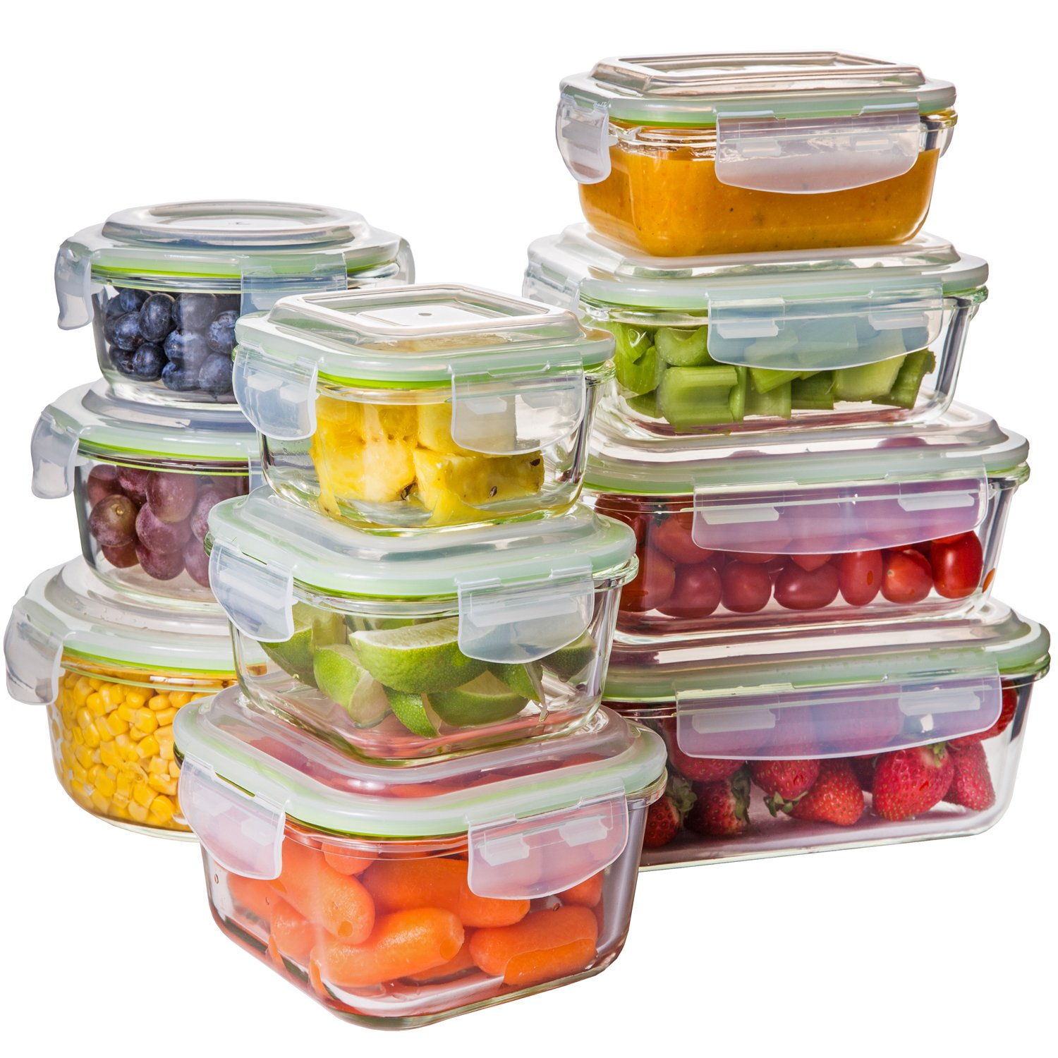 Zenware COMIN18JU082710 20 Piece Microwave Safe Glass Food Storage Container Set, Green