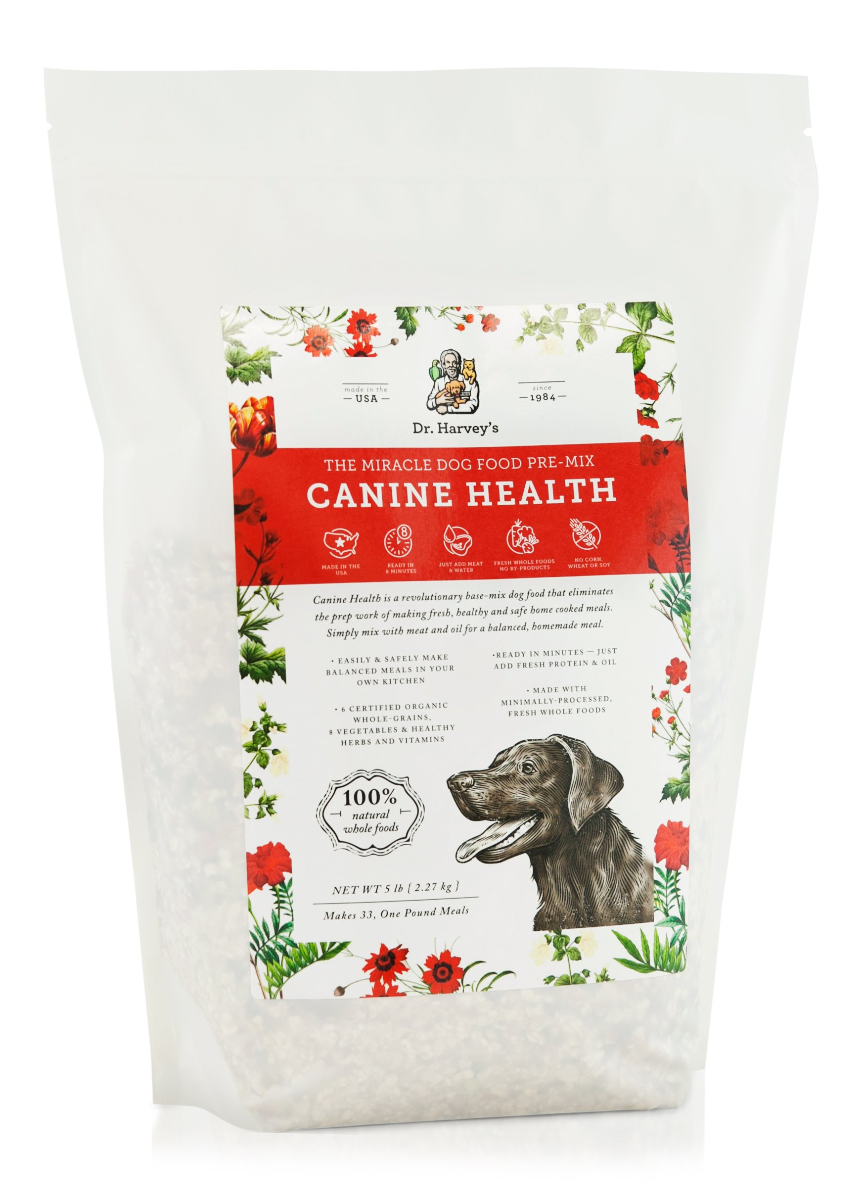 Dr. Harvey's Canine Health Miracle Dog Food, Human Grade Dehydrated Base Mix for Dogs with Organic Whole Grains and Vegetables (5 Pounds) by Dr. Harvey's