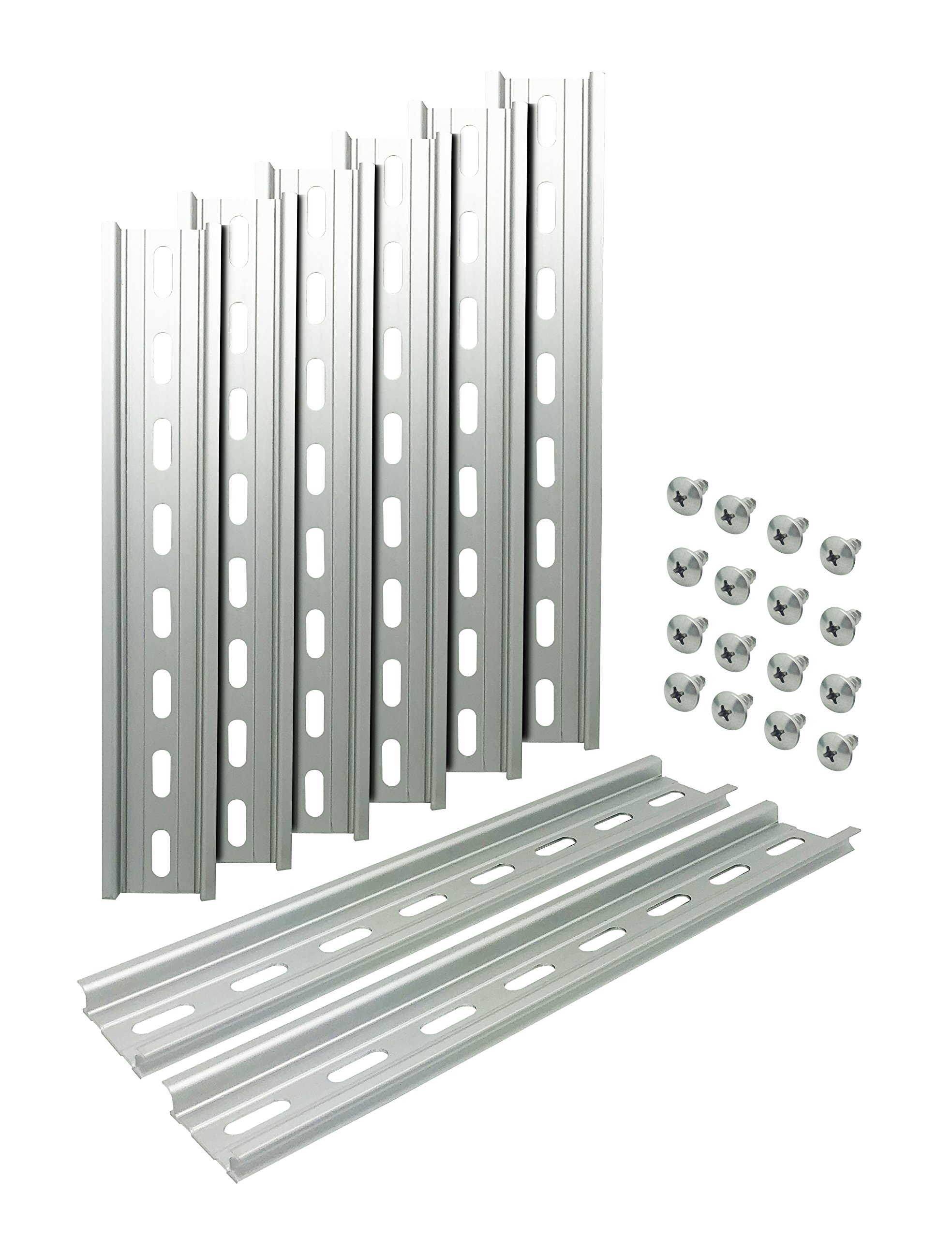 """Electrodepot Slotted Aluminum DIN Rail, 35mm x 8"""", Silver – 8 Pieces with 16#10 Stainless Steel Screws"""