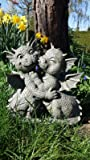 Ars-Bavaria Jardín Dragón Pareja Küsst se Dragón Figura Jardín Figura Amor