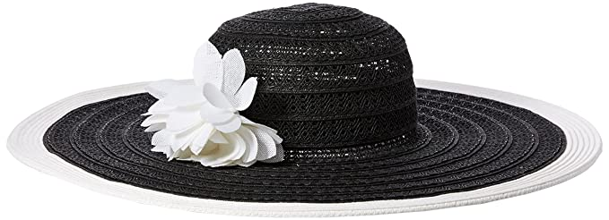 c2ba9d898b203d Nine West Women's Packable Super Floppy Hat with Flower, BLK/White, One Size