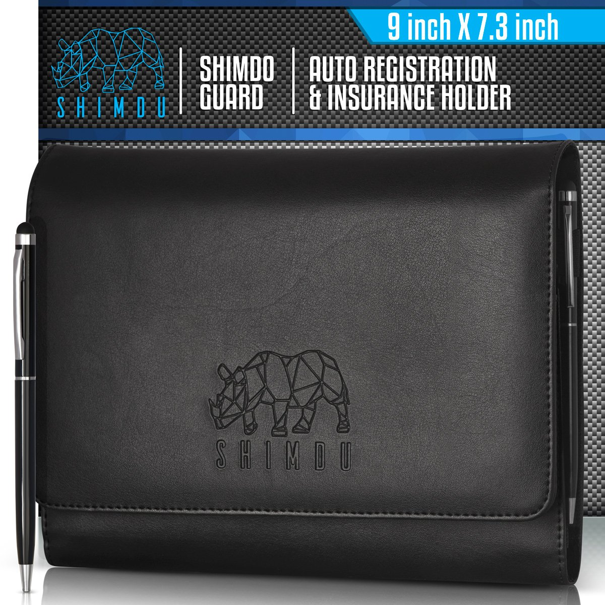 SHIMDU Car Registration Card And Insurance Holder, Glovebox Organizer- Keep Your Important Documents Safe, Protected And Within Arm' s Reach, Made Of Premium Black PU Leather-Include 0.7 mm Pen AL-BL1