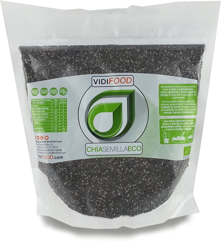 Semillas de Chía ECO Naturales - 1 kg - Certificado Ecológico - Alta Calidad - Fuente Rica de Omega-3, Fibra y Proteínas - Completamente Natural, Sin Toxinas - Adecuado para Veganos.: Amazon.es: Alimentación y bebidas