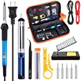 Soldering Iron Kit Electronics 60W Adjustable Temperature Welding Soldering Gun,5pcs Soldering Iron Tips,Solder,Desoldering Pump,Wire Stripper Cutter,Tweezer,Soldering Stand,2pcs Electronic Wire
