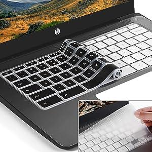 [2pack] Keyboard Cover Skin for HP Chromebook 11,HP Chromebook x360 11.6 inch Protective Cover Skin,hp chromebook G2 G3 G4 G5&(G6 EE) 11.6 Inch(NOT Fit HP Chromebook G5 EE)(Black+Clear)