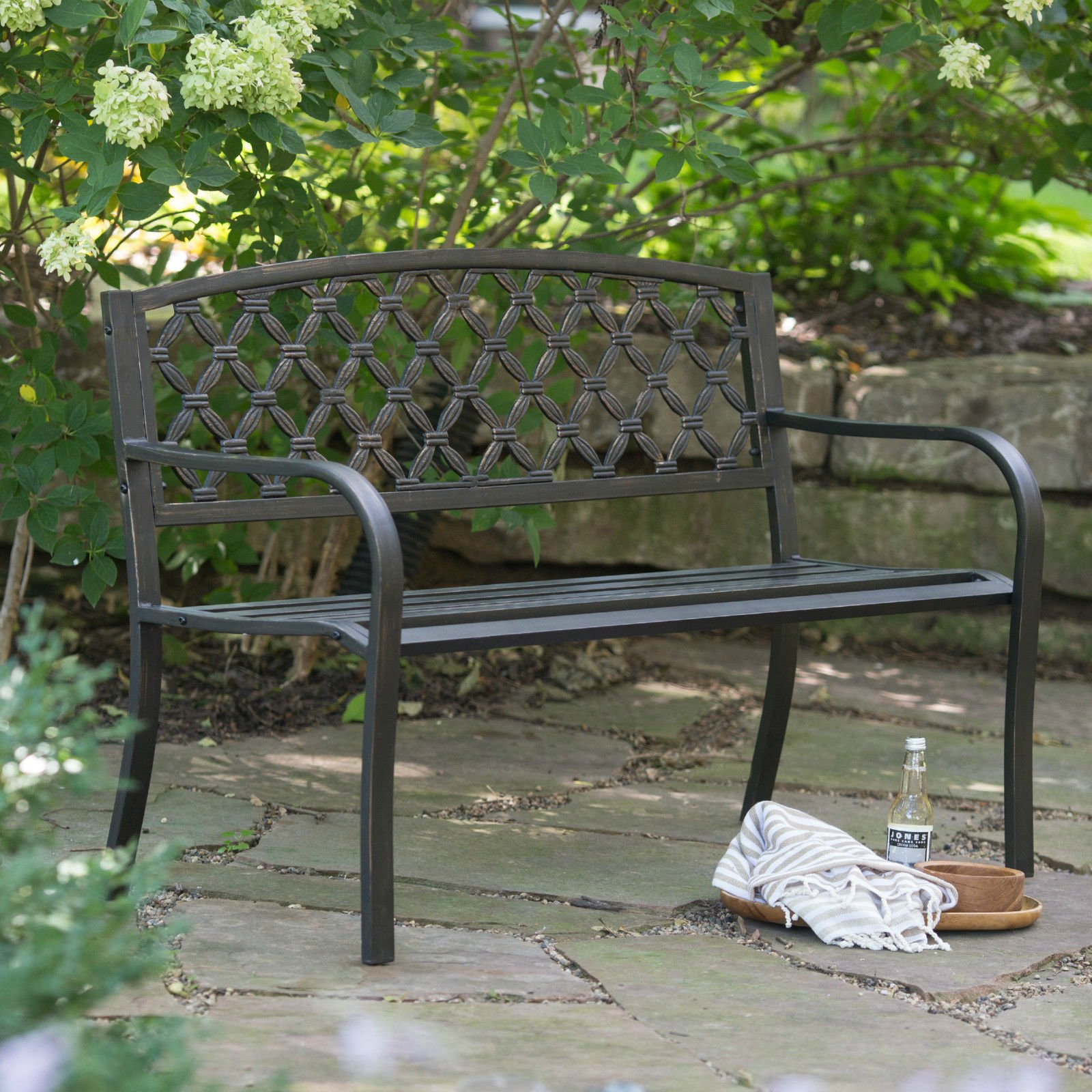 (Ship from USA) Crossweave Curved Back 4-ft. Metal Garden Patio Garden Bench /ITEM NO#8Y-IFW81854160450